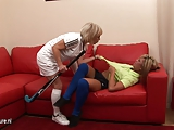 Hot babe dominated by her lesbian mature coach