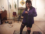 Wife dances in Purple Satin Blouse and Black satin mini.