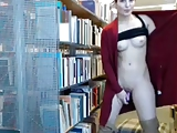 woman flashing and masturbating in library on cam