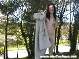 Sexy brunette amateur teen Brys public flashing and outdoor