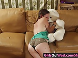 Girls Out West – Amateur cutie fucking a teddy bear