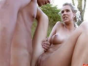 Milf gets fucked in a field at dusk