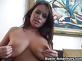 Busty Brunette Leslie On Dildo Fun